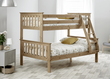4f9043350aca Fits low profile UK standard single (3ft), small double (4ft) mattress.  Max. depth of mattress on top bunk 16cm. For ages 6+ years.