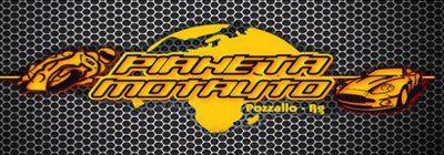 Logo Pianeta Motoauto in giallo su sfondo scuro con disegno di un'auto e una moto