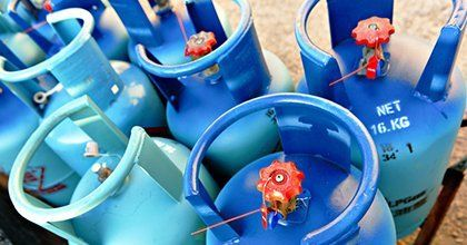 blue gas cylinders