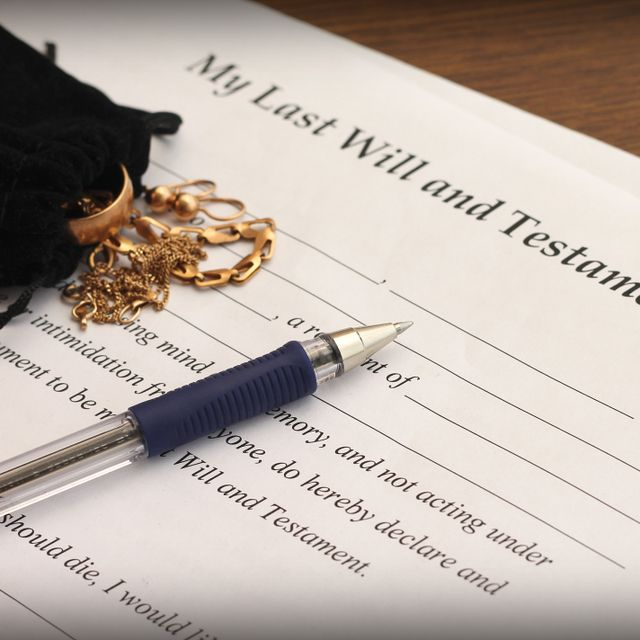 Will and testament document for estate law