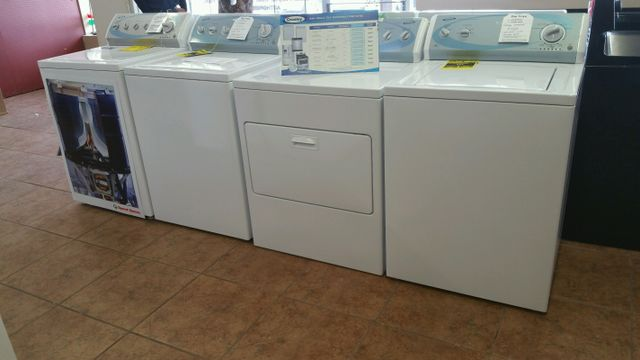 Washers and dryers in the showroom.