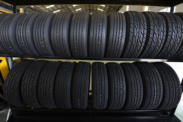 Car tires in rack in New haven