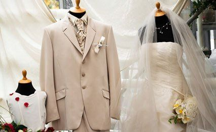 bride and groom's wedding dress