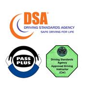 DSA logo, Pass Plus logo, Green Badge logo