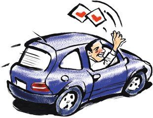 Cartoon of man driving car throwing L Plates out of the window