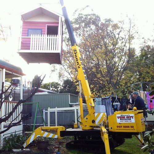 A mini crane hire project in Wodonga