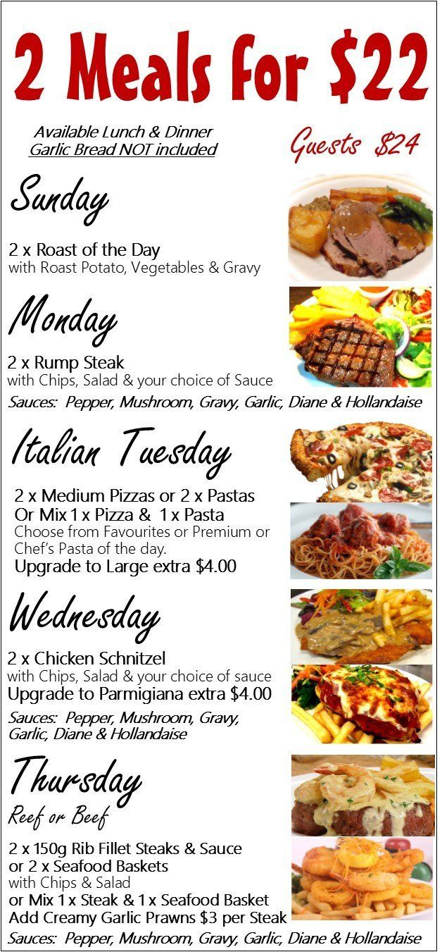Caloundra Bowls Club Weekly Specials