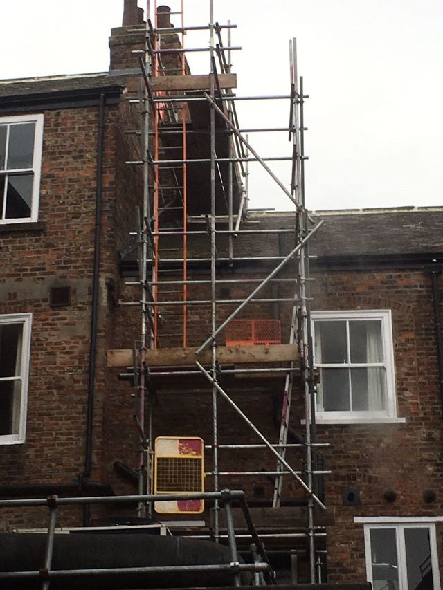 domestic scaffolding around a house