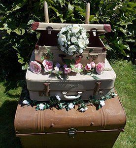 Vintage Suitcase adorned with flowers