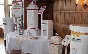 White vintage post boxes for wedding props