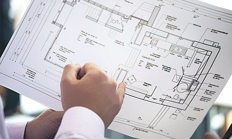 A Building Planning Sketch Ysed By Technician