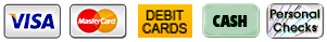 Payment Icons - Visa, MasterCard, Debit cards, cash, check