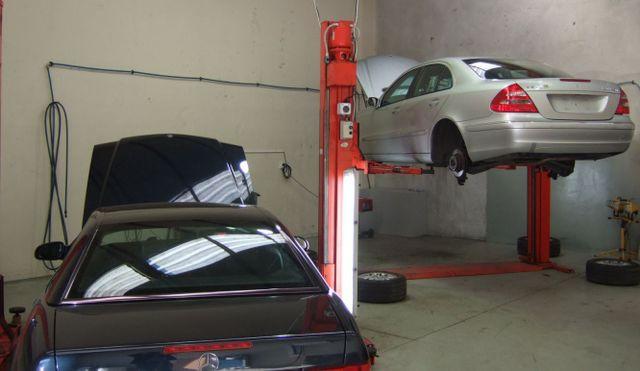 Inside a car inspection workshop