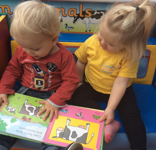 Children reading at the childcare centre in Casterton