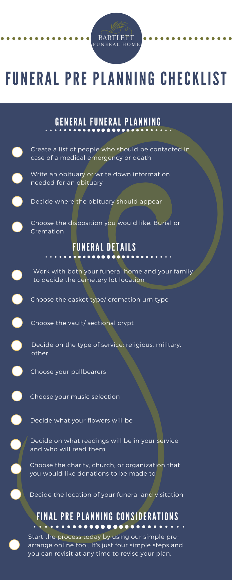 our free funeral pre planning checklist bartlett funeral home