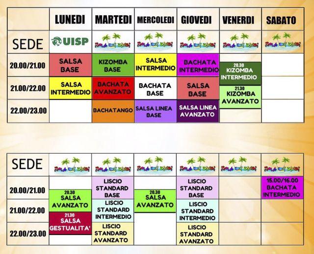 Calendario di corsi di ballo