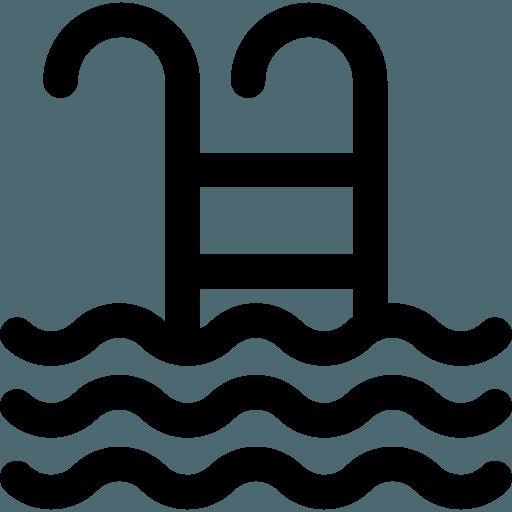 icona di una scaletta e sotto dell'acqua