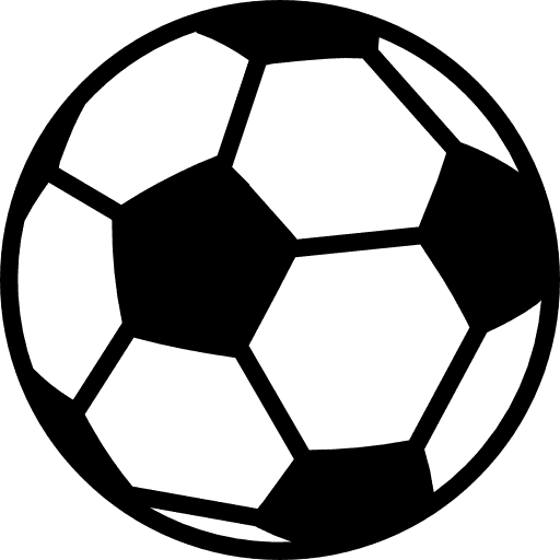 icona di un pallone da calcio bianco a pezze nere