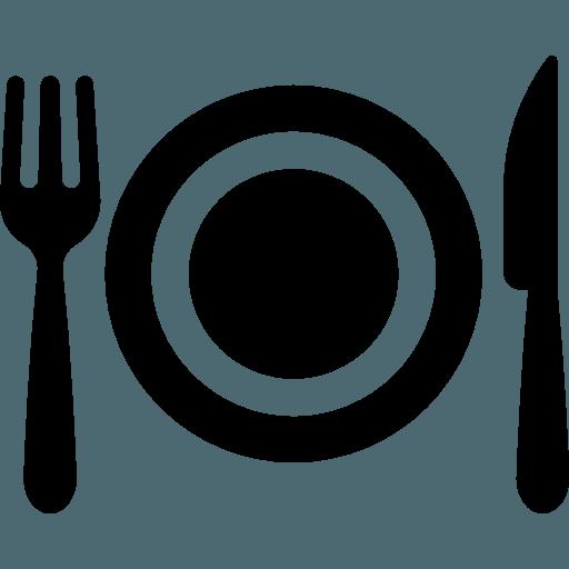 icona di un piatto e delle posate