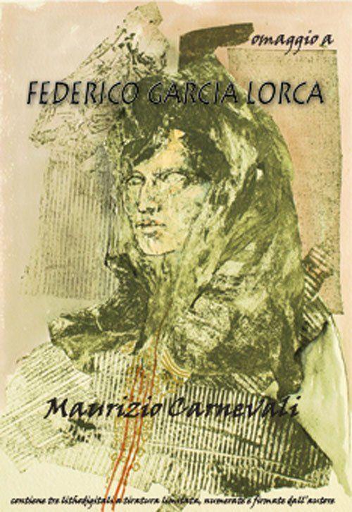 una brochure con una scultura con scritto omaggio a Federico Garcia Lorca