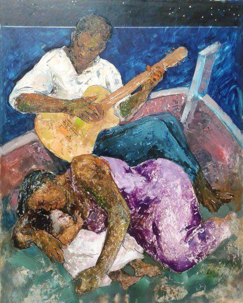 il quadro  di un uomo di colore che suona una chitarra e una donna sdraiata in una barca
