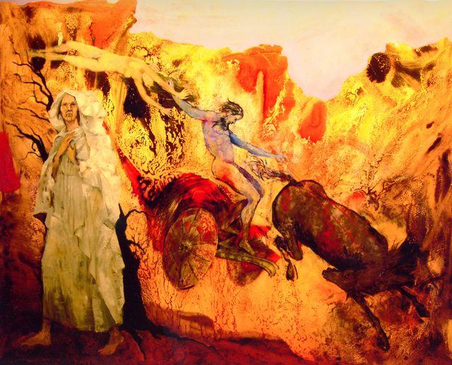 un quadro arancione a sfumature di due artisti di colore che suonano delle trombe