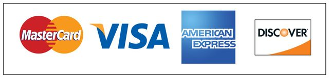 We accept Visa,, MasterCard, American Express,, and Discover  for payment