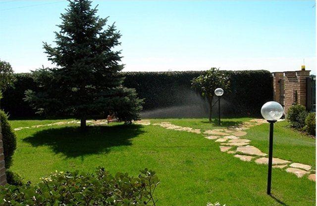un prato con un impianto di auto irrigazione