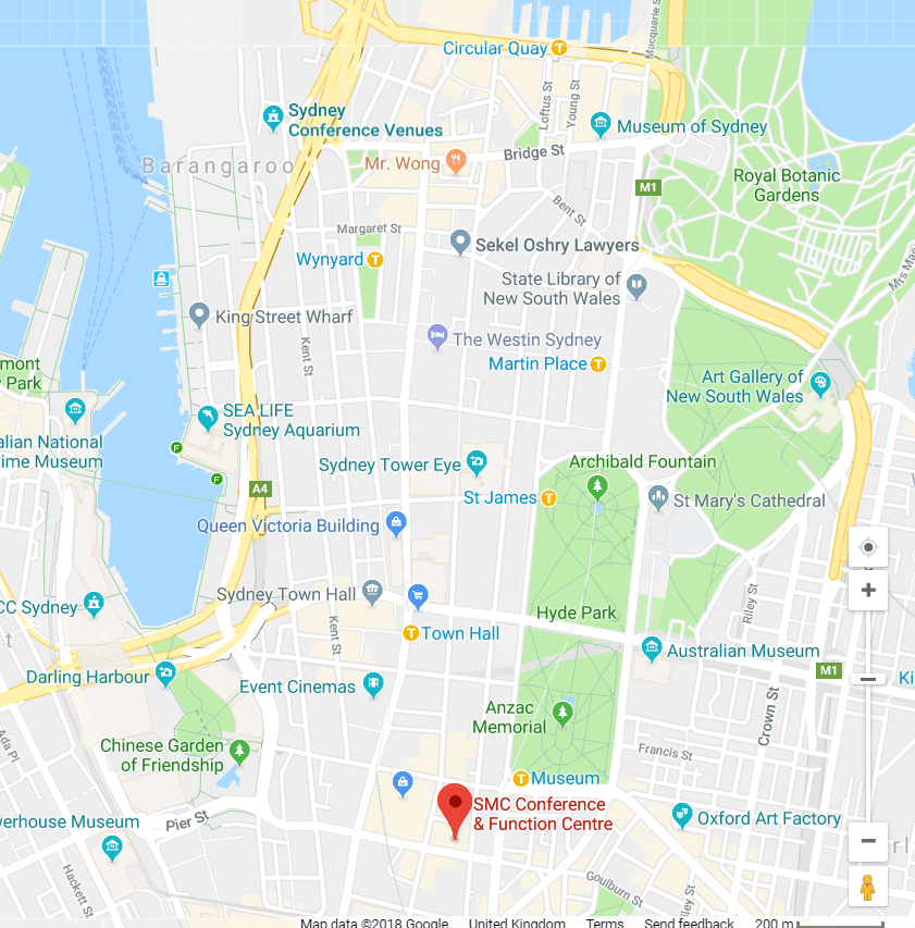 Map of Sydney CBD and conference venue