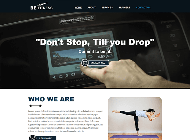 Be Fitness Website Design Themes by Search Marketing Specialists