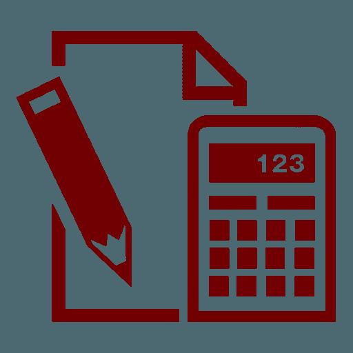 logo di una matita,un foglio e una calcolatrice