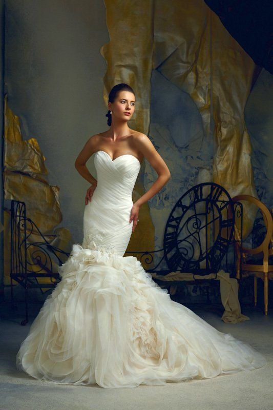 Model showing a wedding gown