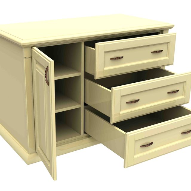 white wooden cabinet with three drawers