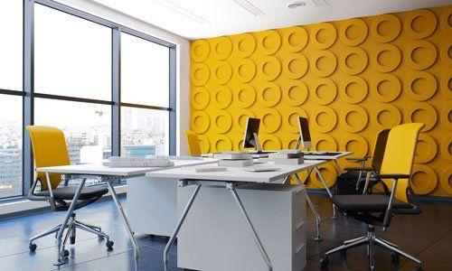 ufficio interno moderno con funishing gialla