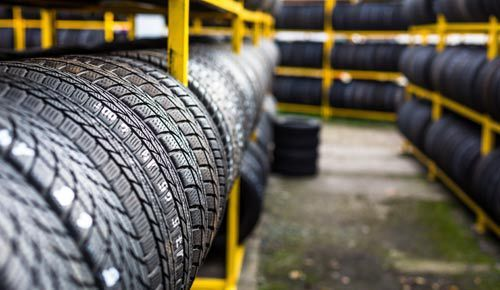 An image of brand new tyres waiting to be fitted
