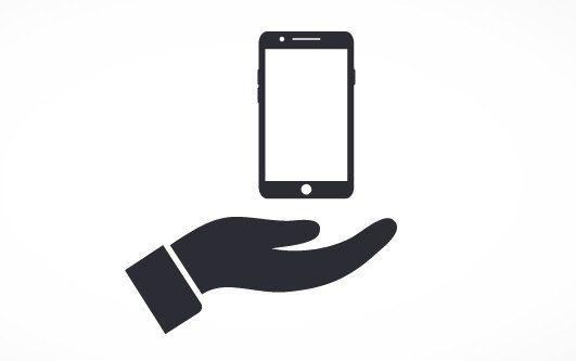 logo di una mano e sopra uno smartphone
