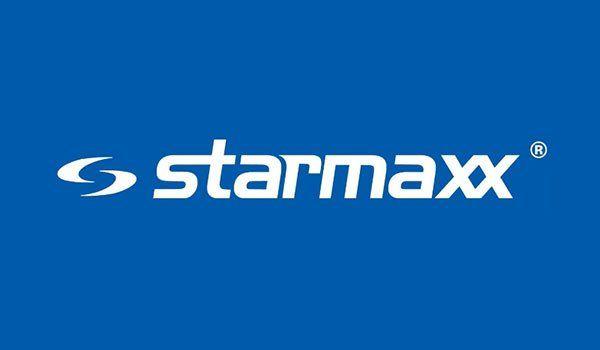 logo Starmaxx scritto in bianco su sfondo blu