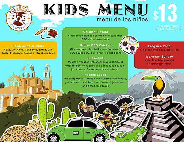 Dos Amigos kids menu