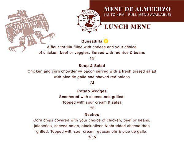 Dos Amigos lunch menu