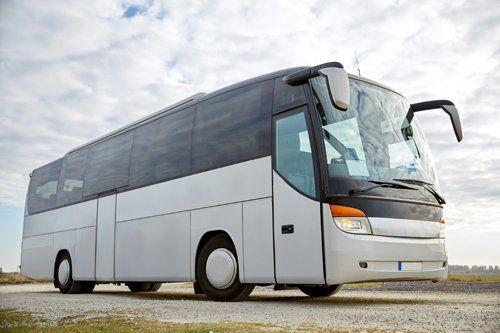 autobus bianco e nero parcheggiato