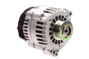 A picture of a white and black alternator