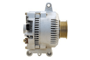 Side view of a white and gold alternator