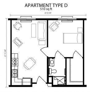 Small 1 Bedroom Apartments 510 520 Sq Ft
