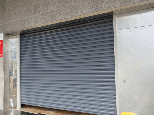 View of roller shutters