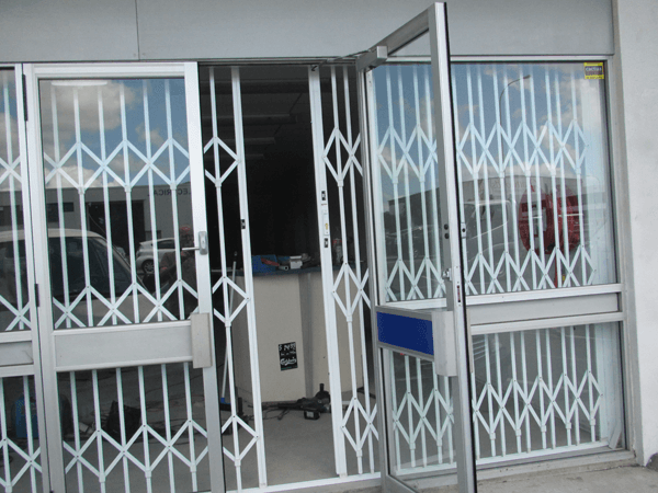 View of glass security doors installed at the store