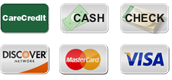 Payment options: CareCredit, Cash, Check, Discover, MasterCard and Visa