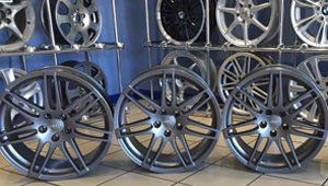 Alloy wheels in garage