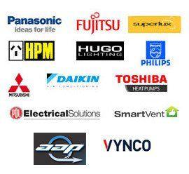 panasonic, fujitsu, hpm, daikin, toshiba, smart vent logos