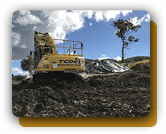 truck in field excavation