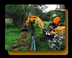 truck excavating land